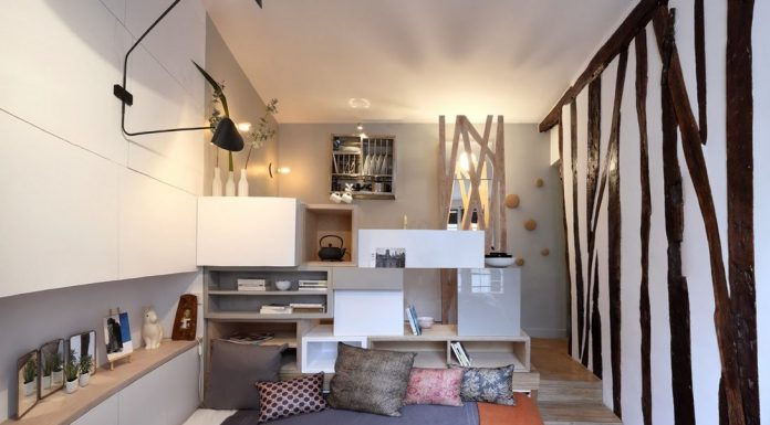 Tiny space - 129 sq ft - transformed into mini-apartment with space-saving ideas like a pull-out bed