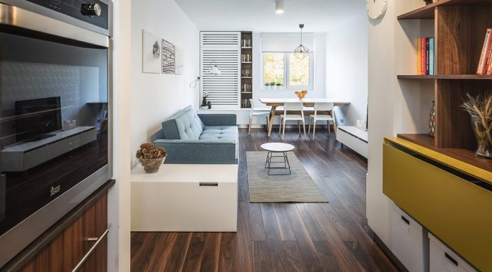 Smart organization, unique layout choices, light decor with color and fun in a 55 sqm apartment